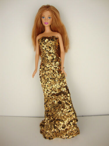 Daring Gold Sequined Fitted Gown with a Slit on One Side Made to Fit the Barbie