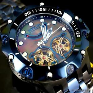 Invicta Reserve Venom Hybrid Double Open Heart Automatic Black Blue Watch New