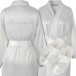 Rhinestone Bridesmaid Satin Bathrobe & Spa Slippers Set Kimono ...
