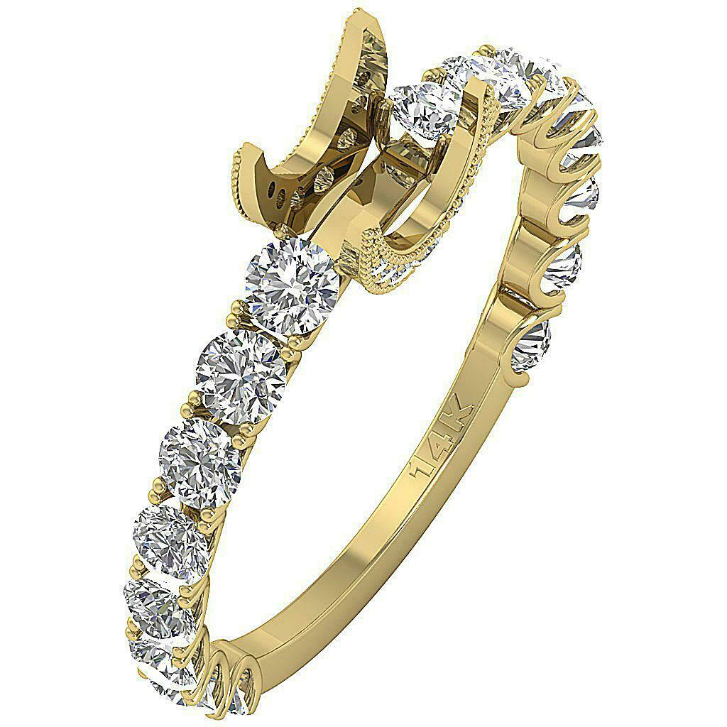 Solitaire Semi Mount Engagement Ring I1 G 1.10 Ct Round Diamond 14k Yellow gold