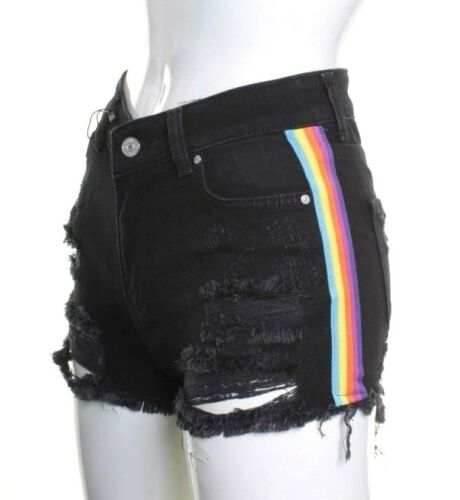Womens Ladies High Waist Stretch Ripped Denim Jeans Shorts Summer Hotpants 6-14