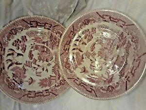 Red-Willow-vintage-china-Saucers-2-Pieces