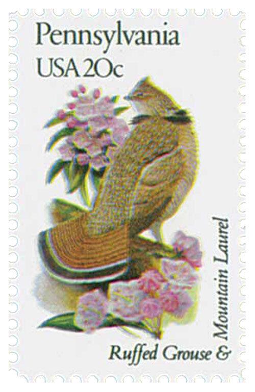 1982 20c State Birds & Flowers, Pennsylvania, Grouse &
