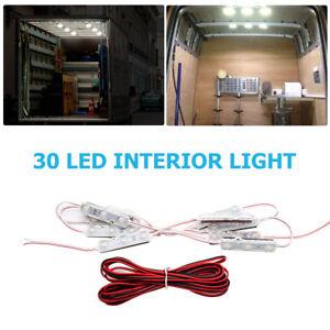 12-V-Kit-de-Luz-LED-30-Leds-Interior-ultra-brillante-para-furgoneta-camper-caravana-barco-coche