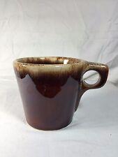 "Hull Brown Drip Pottery Dinnerware Vintage Oven Proof Shiny Coffee Mug Cup 3.5"""