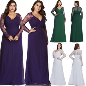 Ever-Pretty US Plus Size Lace Sleeve Formal Evening Prom Gowns Bodycon Dress