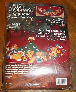 Beary Christmas Tree Skirt J/&P Coats Iron On Transfers Felt Applique Vintage Kit