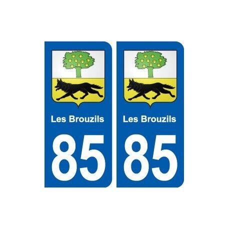 85 Les Brouzils blason autocollant plaque stickers ville droits