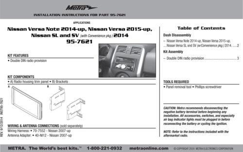 Metra 95-7621 Double Din Radio Install Dash Kit for Versa Car Stereo Mount