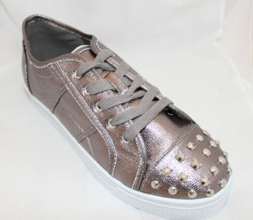 Platform Sneakers Studded Lace-up Flats Pewter Metallics Grey Gray Women/'s Shoes