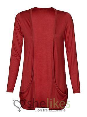 Women Ladies Long Sleeve Boyfriend Open Drop Pocket Cardigan Casual Jumper Top