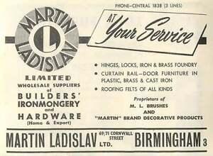 1953-Martin-Ladislav-Hardware-Cornwall-St-Bham-Ad