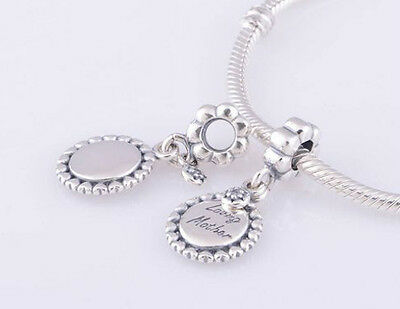 LOVING MOTHER 925 Sterling Silver Solid Dangle Charm Bead Bracelet