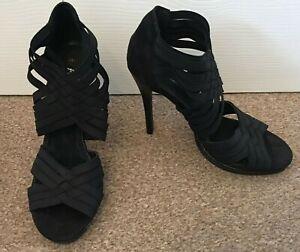 Ladies-Fiore-Black-Peep-Toe-High-Heeled-Shoes-Elasticated-Straps-Size-7-SB17