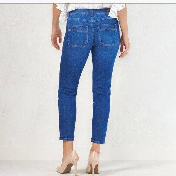 Women's LC Lauren Conrad Skinny Cargo Stretch Denim Mid Rise Blue Jeans - 12