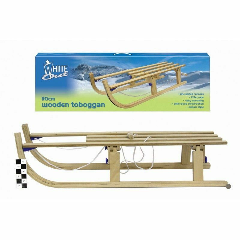 Large 110cm White Out Wooden Toboggan Snow Sledge Outdoor Winter Toy Ages 6+ New