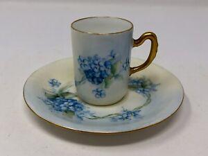 Vintage La Seynie Limoges Demitasse Cup And Saucer Blue Floral Hand Painted