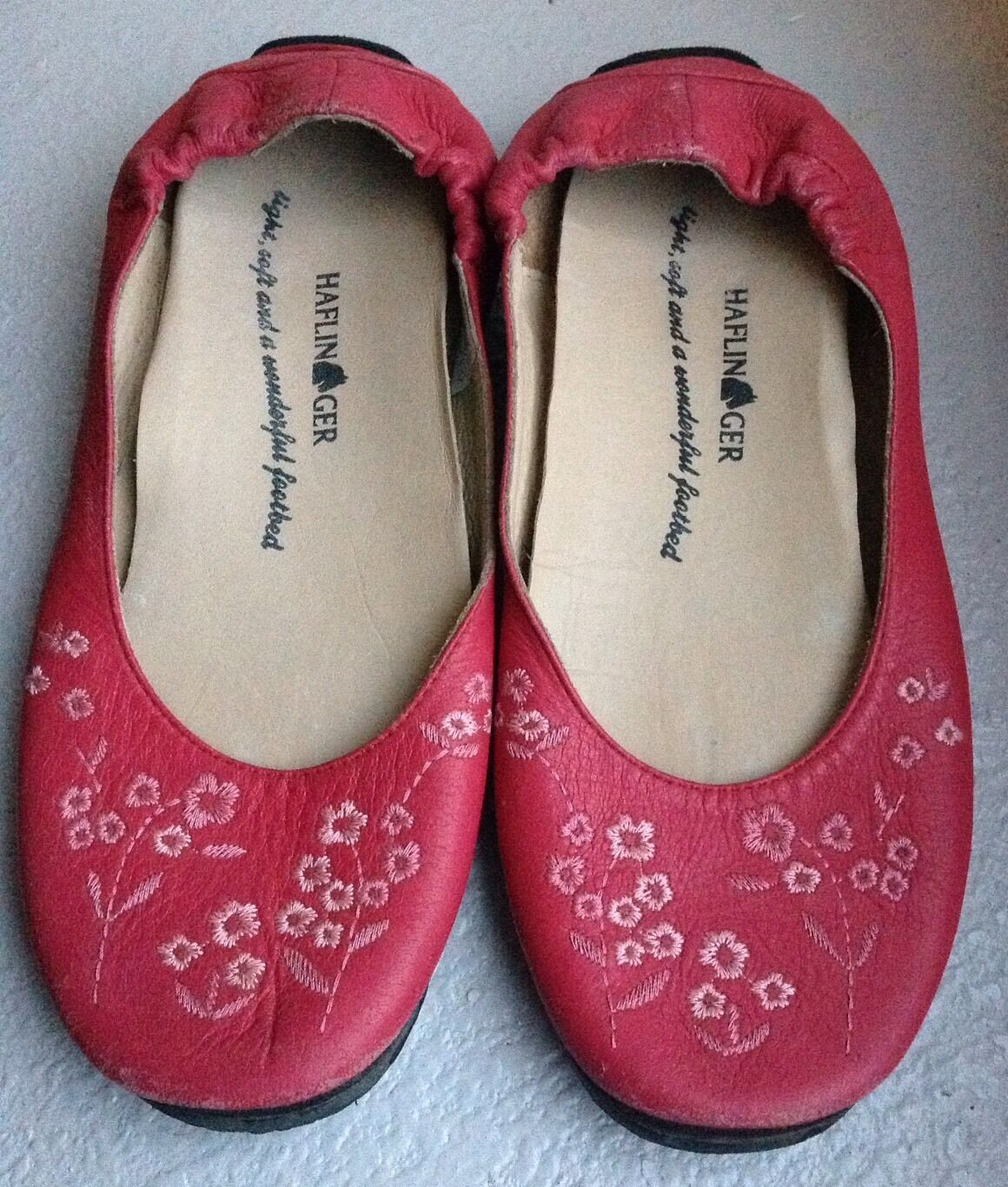 HAFLINGER Women's Embroidered Flower Ballet Flats shoes Pinks SZ 6