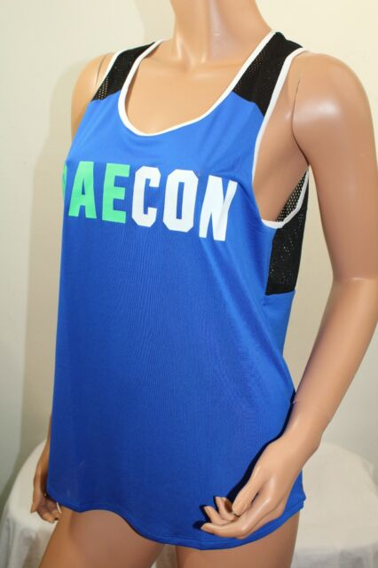869f248531aae Victoria's Secret Pink Graphic Athletic Mesh Back Tank Top Color Blue Small