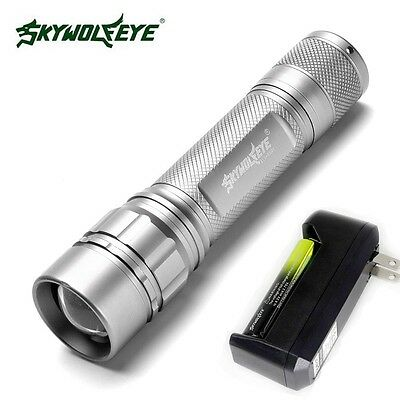 Compact 15000LM XML T6 LED Zoom Silver Flashlight Torch With 18650+Charger
