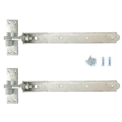 "hook and band ajustable hinges in galvanised 12/"" all fixings  pack of 3 pairs"
