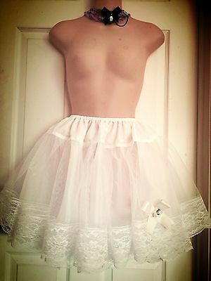 "~ 16"" Lots Of Lace 3 Layers White Princess Satin Ribbon Lolita Petticoat Slip~"