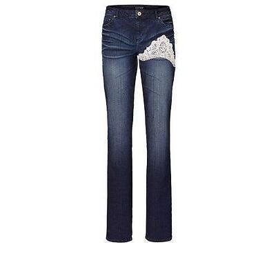 Stretch Jeans Hose blau oder grau mit Spitze in weiß und Nieten XS S M L neu