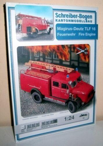 KARTONMODELLBAU  Magirus-Deutz TLF 16 Feuerwehr  SCHREIBER-BOGEN 765