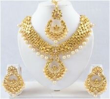 Fashion Necklace Pendant Set Gold Tone Pearl Indian CZ Bridal Earring Jewelry