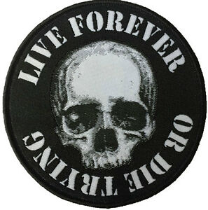 Live-Forever-or-Die-Trying-Skull-Round-Patch-Skeleton-Heavy-Metal-Groucho-Marx