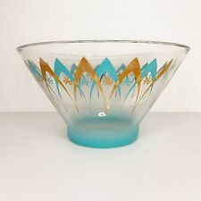 Vintage Gold Turquoise Atomic Glass Chip Serving Bowl MCM 60s Anchor Hocking