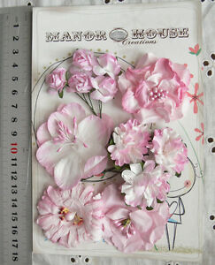 SOFT-PINK-amp-WHITE-12-Flowers-3-Tones-6-Styles-PAPER-Flowers-20-55mm-HH3