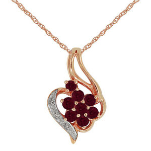9ct-Rose-Gold-0-49ct-Natural-Ruby-amp-Diamond-Cluster-Pendant-on-Chain