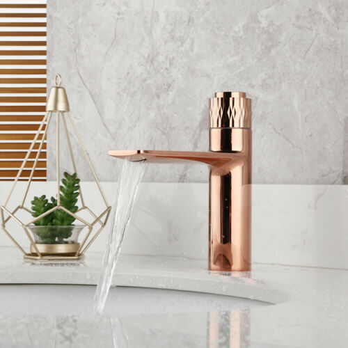 Bathroom Rose Gold Press Faucet Deck Mounted Cold hot water Mixer Simple Taps