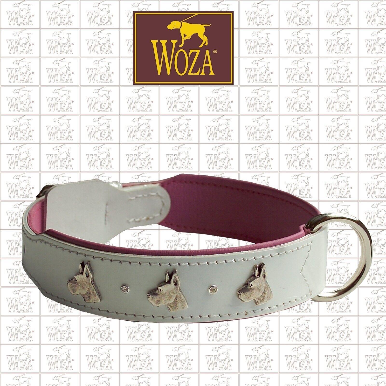 WOZA Premium Dog Collar GREAT DANE Swarowski Full Leather Saddlery Stitched 289