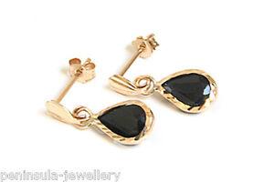 9ct Gold long Teardrop Earrings, Gift Boxed