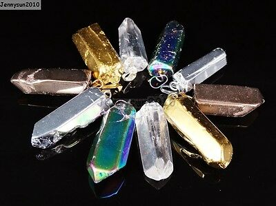 jennysun2010 Natural Amethyst Gemstones Healing Long Hexagonal Pointed Reiki Chakra Pendants Charms Beads Pack of 1 piece Pendant Silver Plated Cap