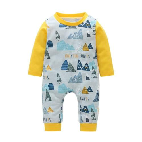 Cotton Breathable Long Sleeves Baby Jumpsuit Infant Toddler Bodysuit Clothes