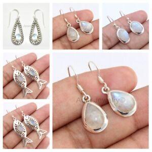 Rainbow-Moonstone-Teardrop-925-Sterling-Silver-Earrings-Jewelry-Mothers-Day-Gift