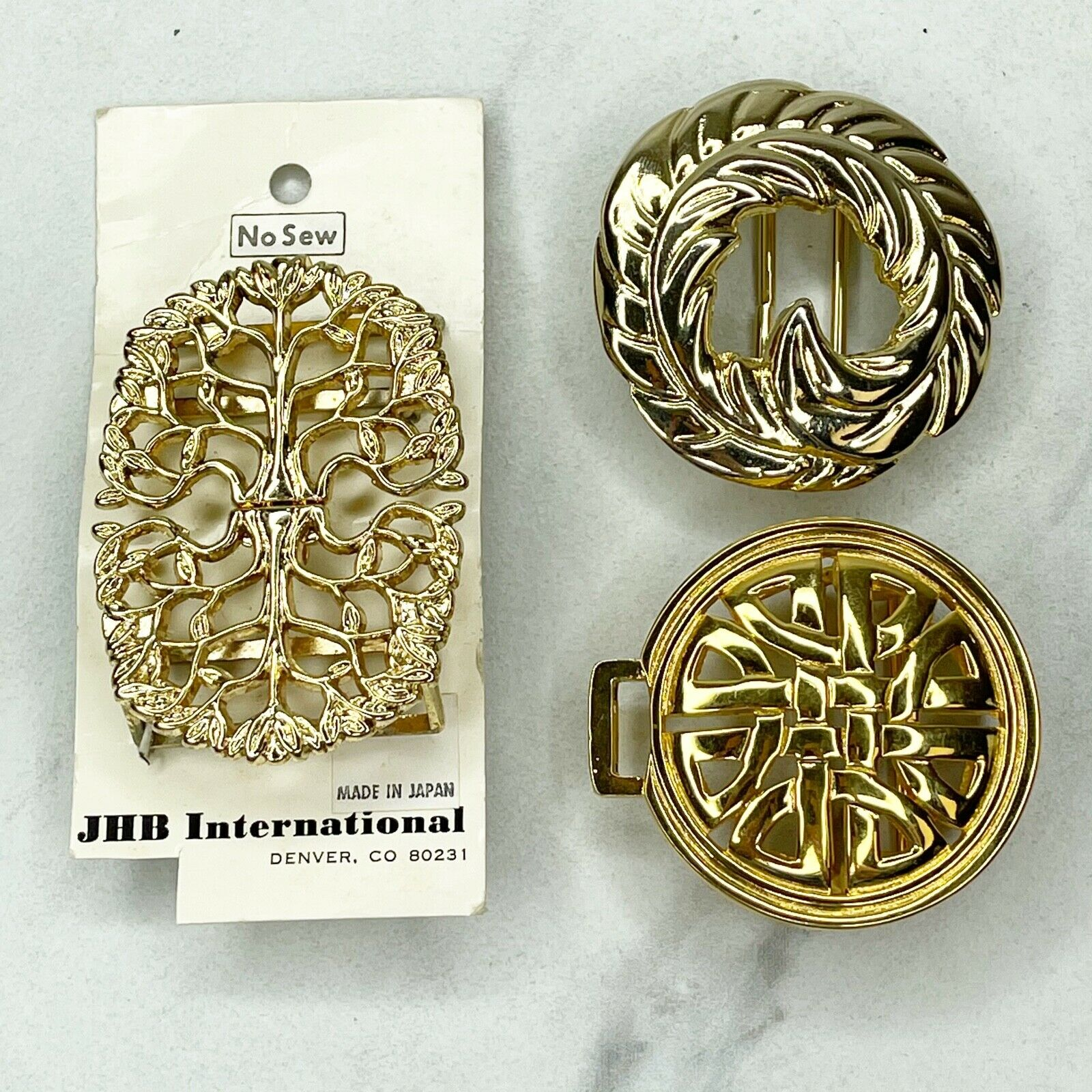Lot of 3 Gold Tone Belt Buckles for 1.25