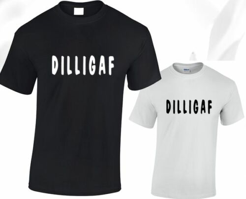 DILLIGAF Mens T Shirt Funny Rude Offensive Slogan Black