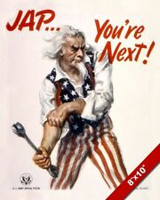 UNITED STATES ANTI JAPANESE WWII JAPAN PROPAGANDA POSTER REAL CANVAS ART PRINT