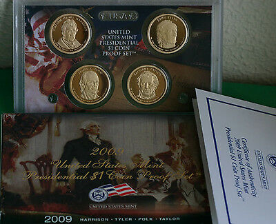 2009 S Proof Presidential 4 Coin US Mint Set of Golden Dollars Box and COA $1