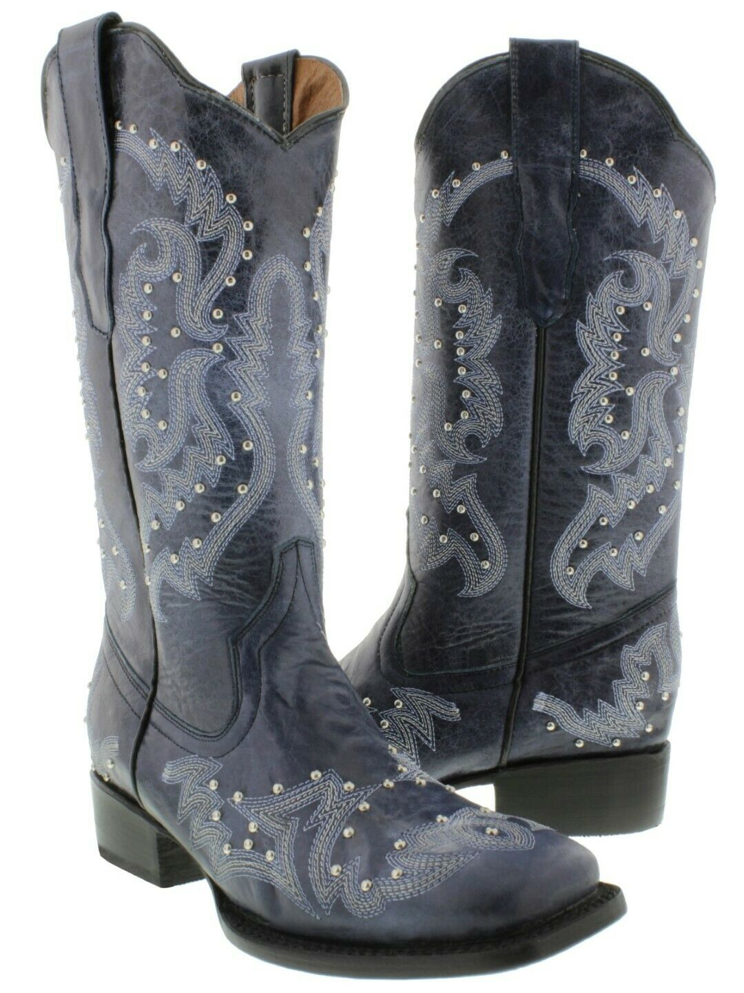 Womens Denim bluee Cowgirl Boots Silver Studded Real Embroidered Leather Square