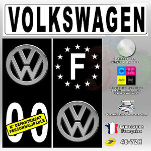 Stickers-Plaque-D-039-immatriculation-Fond-Noir-Logo-034-Volkswagen-034-4-pieces-45x100-mm
