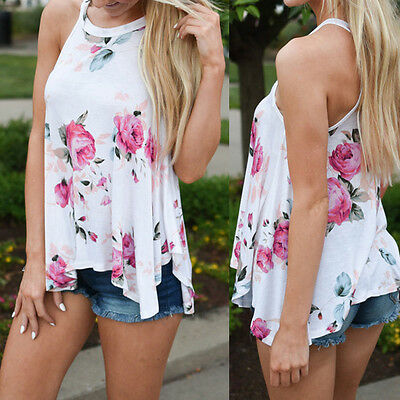 Women Summer Sleeveless Flower Printed Loose Tank Top Casual Vest Blouse T-Shirt
