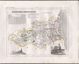 1841 ANTIQUE MAP MONIN FRANCE HCOL DEPARTMENTS PYRENEES