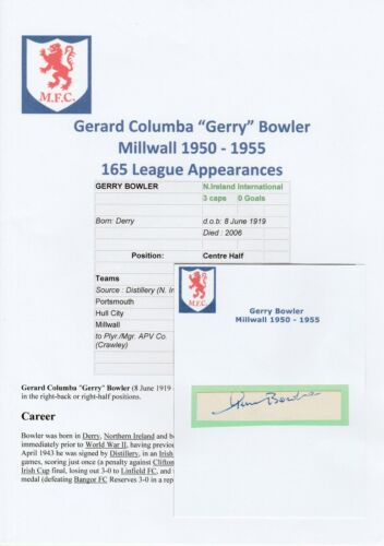 GERRY BOWLER MILLWALL 19501955 RARE ORIGINAL HAND SIGNED CUTTINGCARD