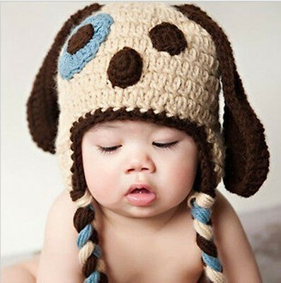 Baby Infant Crochet Knit Aminal Shorts Beanie Hat Costume Set Photo Props Cap