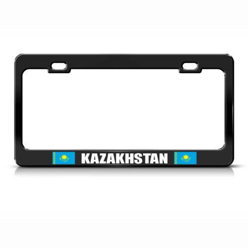 KAZAKHSTAN COUNTRY FLAG BLACK Heavy Duty Steel License Plate Frame Tag Border
